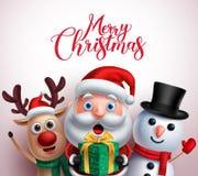 Характеры рождества любят Санта Клаус, северный олень и снеговик держа подарок бесплатная иллюстрация