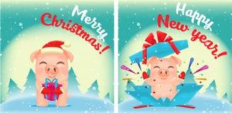 Характеры свиней мультфильма вектора маленькие иллюстрация штока