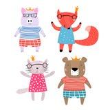 Характеры свиньи, Fox, медведя и кота бесплатная иллюстрация