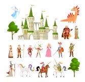 Характеры сказки Дракон фантазии средневековый волшебный, единорог, принцы и король, королевский замок и набор вектора рыцаря бесплатная иллюстрация