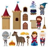 Характеры сказки и башни замка иллюстрация вектора