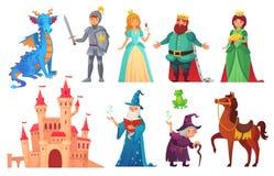 Характеры сказок Рыцарь и дракон фантазии, принц и принцесса, волшебный ферзь мира и король изолировали шарж иллюстрация штока