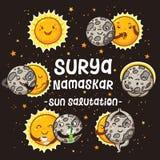 Характеры солнца и луны мультфильма делая некоторый Salutation Солнца представления иллюстрация вектора