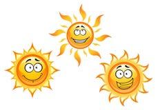 Характеры Солнця шаржа Стоковые Изображения