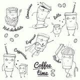 Характеры стиля эскиза времени кофе Стоковое фото RF