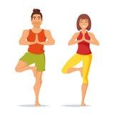 Характеры укомплектовывают личным составом и женщина делая йогу Стоковое Изображение