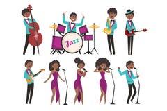 Характеры художников джаза шаржа поя и играя на музыкальных инструментах Contrabassist, барабанщик, саксофонист иллюстрация вектора