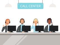 Характеры центра телефонного обслуживания Оператор агентов обслуживания клиента дела в шлемофоне сидя передний вектор ноутбуков иллюстрация вектора