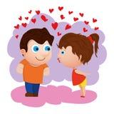 Характеры шаржа любящие с сердцами Объявите вашу влюбленность вектор иллюстрация штока