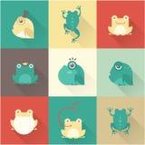 Характеры лягушки плоские Стоковая Фотография