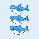 Характеры catoon акул в векторе бесплатная иллюстрация