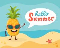 Характер ананаса на пляже Стоковое Изображение