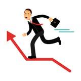 Характер бежать на красной стрелке диаграммы повышения, иллюстрация бизнесмена успеха в бизнесе иллюстрация вектора