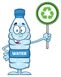 Характер бутылки воды пластичный задерживая знак рециркулировать иллюстрация вектора