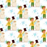 Характер вектора мальчика ребенк рождества играя xmas Нового Года шаржа снеговика рождества праздников детей зимы игр зимы Стоковое Фото