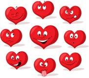 Характер дизайна красного шаржа сердца валентинки плоский с много выражение - вектор Стоковое Изображение