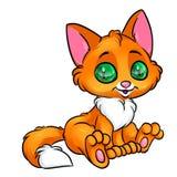 Характер животного иллюстрации красного кота сидя Стоковая Фотография
