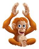 Характер животного орангутана шаржа иллюстрация вектора