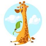Характер жирафа шаржа Vector жираф иллюстрации милый есть лист и усмехаться бесплатная иллюстрация