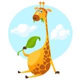 Характер жирафа шаржа Vector жираф иллюстрации милый есть лист и усмехаться иллюстрация штока