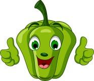 Характер зеленого перца давая большие пальцы руки вверх Стоковые Изображения RF