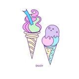 Характер 01 значка мороженого Бесплатная Иллюстрация
