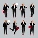 Характер коммерсантки Молодые женские профессиональные иллюстрация вектора, положение бизнес-леди, вызывая телефоном и Стоковые Изображения RF