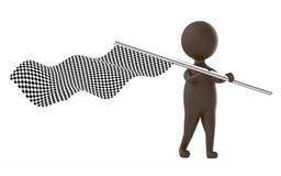 характер коричневого цвета 3d развевая флаг контролера Стоковое Фото