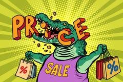 Характер крокодила зеленого цвета продажи цен со скидкой иллюстрация штока
