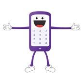 Характер мобильного телефона шаржа в t-представлении стоковое фото rf