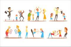 Характер молодого человека жонглируя с оранжевыми шариками перед счастливыми людьми Детализированный шарж актера цирка или улицы  иллюстрация штока