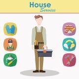 Характер мужского вектора рабочий-строителя плоский Стоковое Изображение