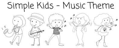 Характер музыканта Doodle на белой предпосылке иллюстрация штока