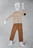 Характер нарисованный рукой смешной в вскользь одеждах Стоковое Изображение RF