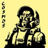 Характер научной фантастики космонавта в черно-белых цветах также вектор иллюстрации притяжки corel Стоковые Фото