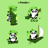 Характер панды с зеленым бамбуковым набором иллюстрации вектора иллюстрация штока