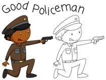 Характер полицейския Doodle хороший иллюстрация вектора