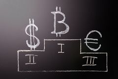 Характер руководитель Bitcoin над традиционными валютами: символ E-валюты роста и руководства Характер  Стоковое Фото