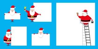 Характер Санта Клауса элементов установленного дизайна вектора смешной различный как художник и showman изолированные на голубой  Стоковые Изображения