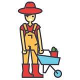 Характер садовника, работая в саде, человек с тачкой, концепцией фермера иллюстрация штока