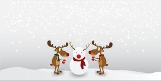 Характер северного оленя мультфильма милый на предпосылке снега зимы иллюстрация вектора