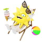 характер солнца 3D в кресле для отдыха ест мороженое иллюстрация штока