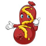 Характер сосиски мультфильма милый давая большие пальцы руки вверх иллюстрация вектора