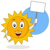 Характер Солнця лета держа знак Стоковые Фото