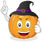 Характер тыквы хеллоуина с шляпой стоковое изображение rf