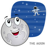 Характер луны шаржа Стоковое Изображение