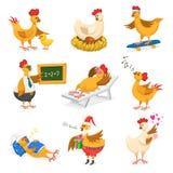 Характер цыпленока шаржа вектора цыпленка на партия день Christrmas или валентинок и курица в шляпе Санты с подарком fo xmas ягня Стоковое фото RF