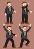 Характер человека шаржа жесты счастливых и ободрения Стоковое Изображение RF