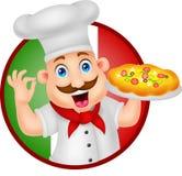 Характер шеф-повара шаржа с пиццей Стоковое фото RF