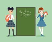 Характер школьницы Иллюстрация вектора шаржа плоская Поздравление на день учителя Зрачок подруги в школе Стоковое фото RF